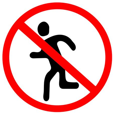 niet uitvoeren. Rode verbodswaarschuwingssymboolteken op witte achtergrond