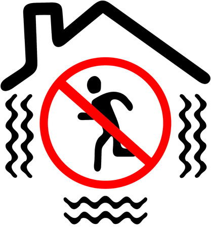 disallowed: do not go out while earthquake.Red prohibition warning symbol sign on white background.