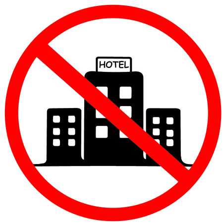 Accommodation not allowed. End of Hotel area. Red warning symbol sign isolated on white background
