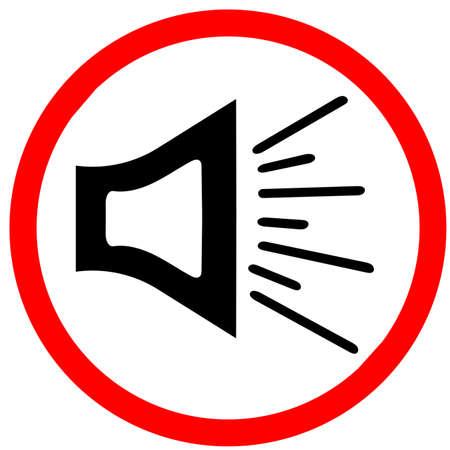 メガホンの音は、警告の背景を発表します。黒の赤い道路標識のアイコンが白い背景で隔離のメガホン