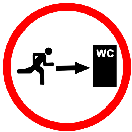 round: way of Toilet WC.Red warning road sign isolated on white background