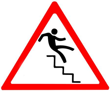 risk of falling warning.Red triangular warning symbol sign on white background.