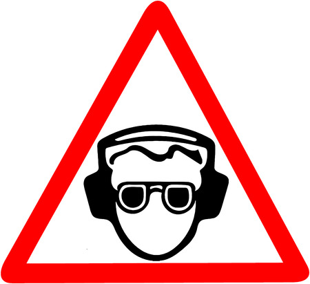 Use your ear protection, noise pollution, Be sure to use soundproof headphones warning. Red prohibition warning symbol sign on white background Stock Photo