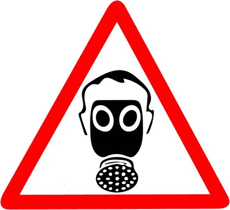 Safety sign, wear dust gas protection mask job security sign.Be sure to use dust mask warning. Red prohibition warning symbol sign on white background