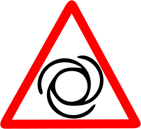 rotary part machine warning machine contains rotating pieces job security icon illustration. Red prohibition warning symbol sign on white background Stock Photo