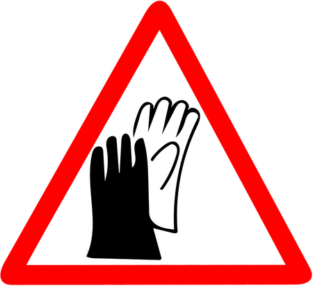 Safety sign, wear gloves protection job security sign.Be sure to wear hand protector gloves warning. Red prohibition warning symbol sign on white Stock Photo