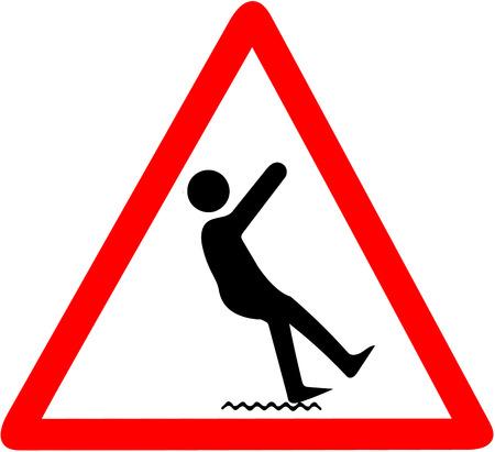 젖은 바닥 경고, falling.Red 삼각형 경고 기호 기호 흰색 배경에 고립의 위험.
