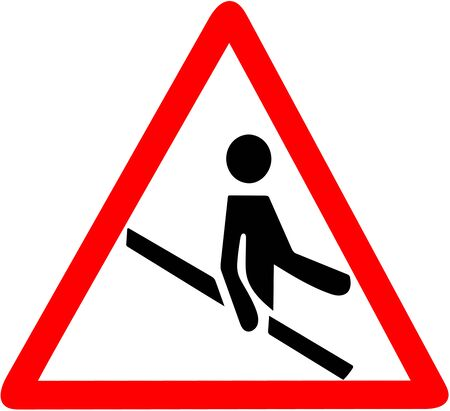 use banister, railing, handrail of the stairs. Red triangle caution warning symbol sign on white background