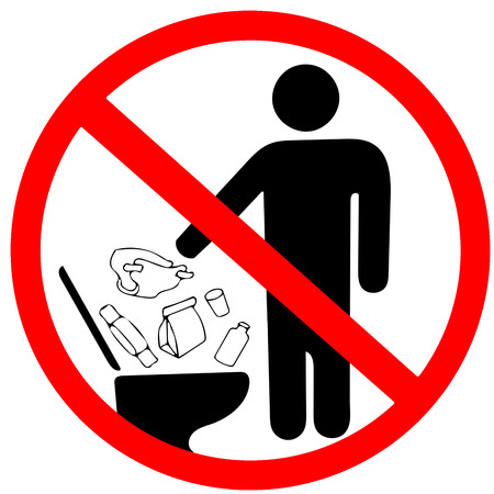 Ne jetez pas de déchets dans l'icône des toilettes. Gardez un signe propre. Non pour jeter les ordures dans les toilettes en interdiction AVERTISSEMENT cercle rouge attention isolé sur fond blanc. Banque d'images - 88858194