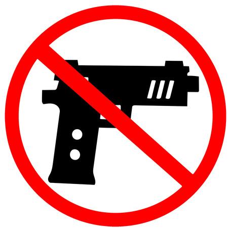 no gun prohibition warning sign isolated on white background.