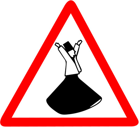 Whirling Dervishes Ceremony caution warning red triangular road sign isolated on white background. Reklamní fotografie - 91863462
