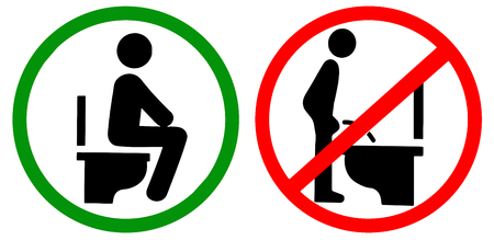 Do not pee to closet while standing,  do by sitting on the toilet red green circle warning prohibition sign.