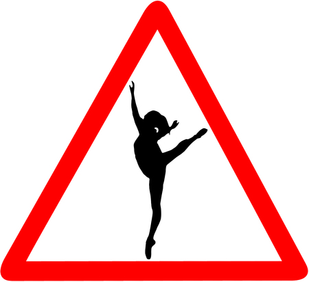 ballet dancer dance school caution red triangular road sign isolated on white background.