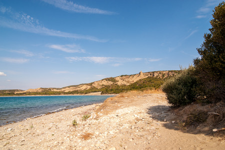 panorama of cemetery beach at the Anzac cove in Gallipoli Gelibolu canakkale turkey beach cemetery