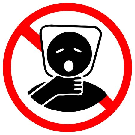 plastic bag may cause kill your baby. Do not give to your baby as toy. Red prohibition warning symbol sign.