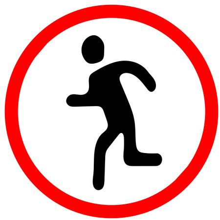 run away escape.Red prohibition warning symbol sign on white background Фото со стока
