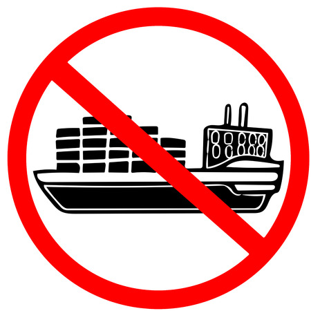 cargo vessel ship caution prohibition warning red circle road sign isolated on white.