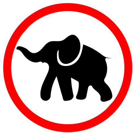 Elephant caution red circle warning road sign, isolated on white background Stock Photo