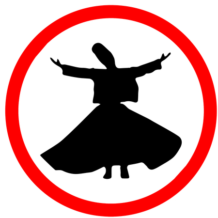 Whirling Dervishes Ceremony caution warning red triangular road sign isolated on white background.