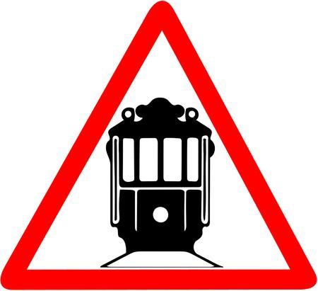 Nostalgic red tramway red triangular road sign warning Stock Photo