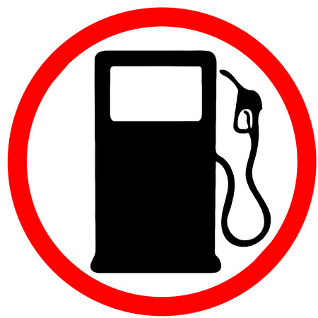 fuel gas station warning red circular road sign isolated Stock Photo