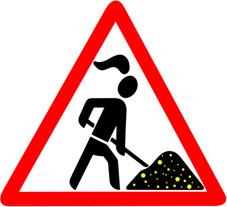 gold digger lady warning red triangular road sign isolated