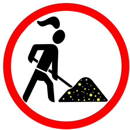 gold digger lady allowed red circular road sign isolated