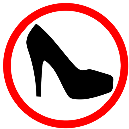 Woman warning high heel shoes girl caution red circular road sign background