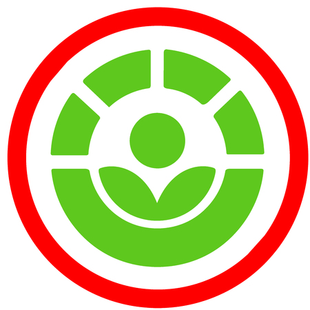 The Radura used to allowed for food disenfection red circular road sign. International irradiated food symbol or icon isolated