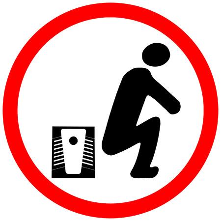 allaturca toilet caution red circle prohibition road sign.