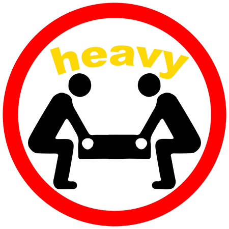 heavy weight proper lifting warning triangular red road warning sign
