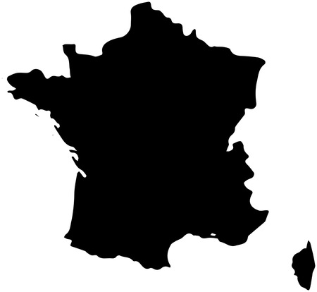 The France country Map illustration black