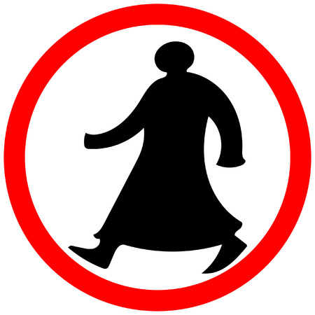 Walking man circular prohibition road sign warning caution isolated. Imagens