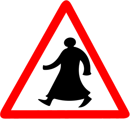 Walking man tiangular road sign warning caution isolated.