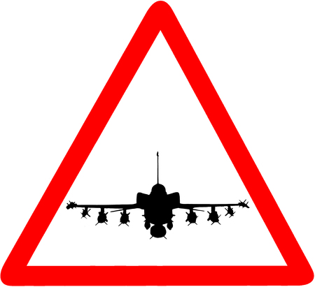 millitary aircraft circular road sign icon warning.