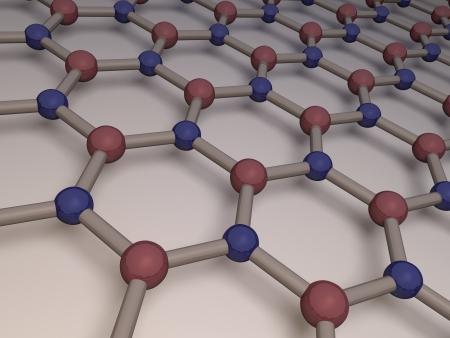boron: 3d render of single layer of hexagonal boron nitride