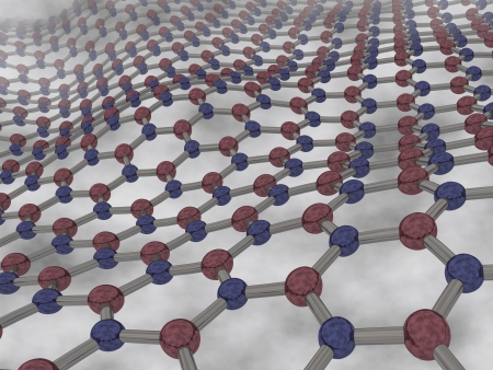 3d render of single layer of hexagonal boron nitride