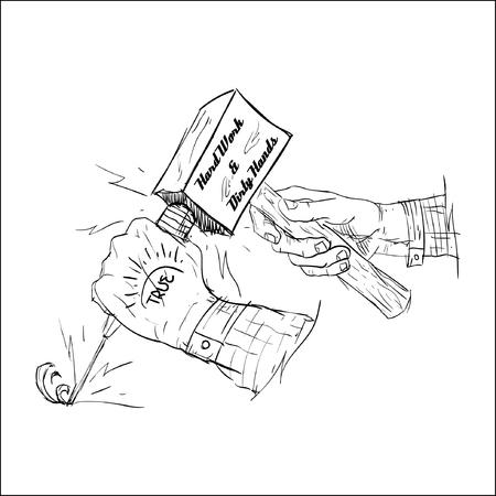 vieze handen: Hard werken en vuile handen Stock Illustratie