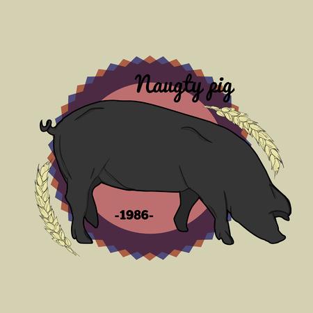 naughty: Naughty pig logo Illustration