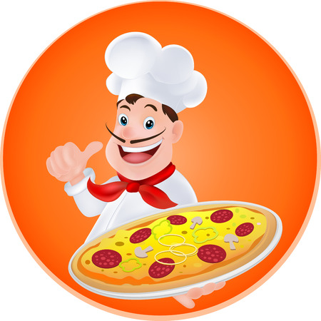 chef with a pizza in hand