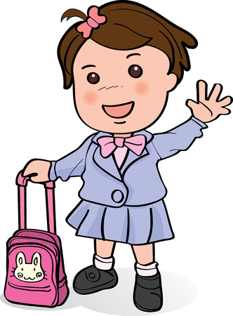 Cute girl with pink pack going to school and waving hand to her parents