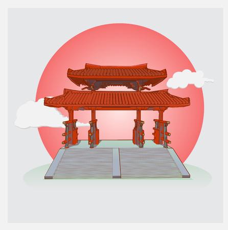 japan shire gate for backgound vector Illusztráció