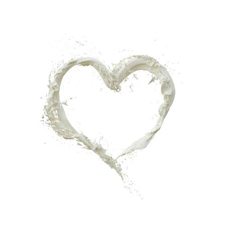 milk splash, milky wave heart shape, Stock fotó