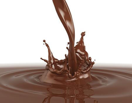 splashing chocolate on white background Stock fotó