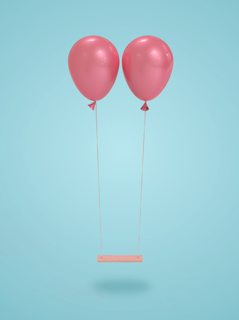 Pink balloon on blue background.balloon Emotional concept,3d render