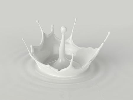 Pouring milk,milk splash isolated,milk ripple