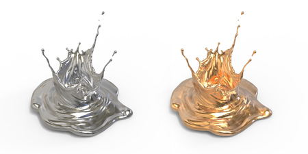 silver and gold splattered ink drop