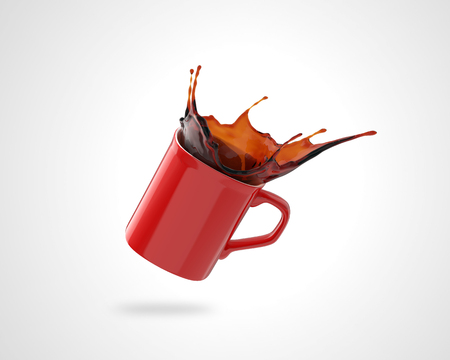 red coffee cup with splash on white background