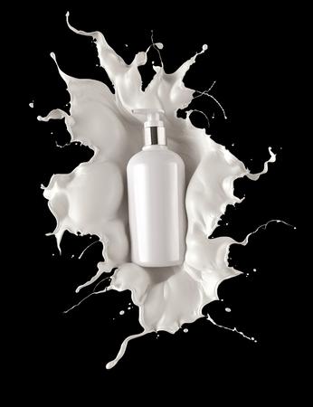 Container with cosmetics skin care body cream with milk splash