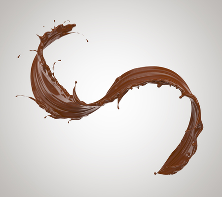 chocolate splash, chocolate isolated on white background, 3d illustration with clipping path. Stock Photo